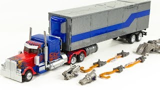 Transformers Movie Leader Class Optimus Prime UFO Annular Weapon Trailer Vehicle Car Robot Toys