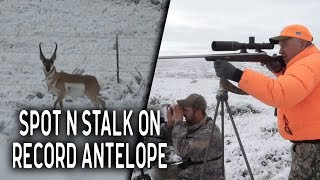 Hunting Record Book Antelope in the snow at Blue Rock Outfitters