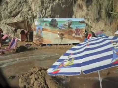 ... paint a large-scale group portrait on a secluded nudist beach in Greece ...