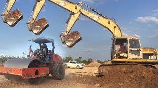 ឡានដឹកដី, Cambodia Construction, Excavator Loading Dump Truck Video, Heavy Equipment in Cambodia