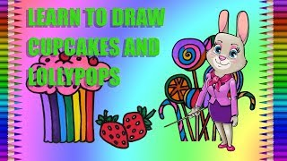 How to Draw Cupcakes and Lollypops|Food|Fun Colour Art