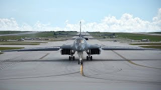 B-1 Bombers Take Off Side-By-Side Simultaneously From Guam