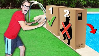 DONT Push The WRONG Mystery Box into The Pool!  (Coin Flip Battle Challenge)