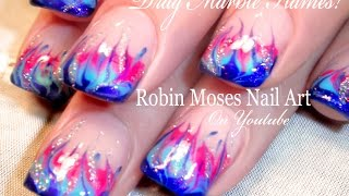 No Water Marble Flame Nail Art Tutorial
