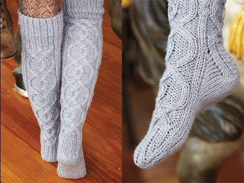 Вязание высокие носок спицами
