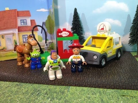 Toy Story Lego Pizza Planet Delivery Truck With Buzz Lightyear A Disney Movie Toy video