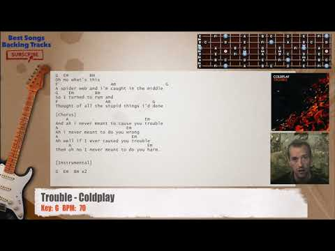 Trouble - Coldplay Guitar Backing Track with chords and lyrics
