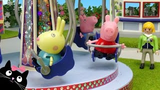 Peppa Pig y George van al Parque de Atracciones de Playmobil - Juguetes de Peppa Pig