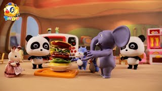 How to Make a Big Hamburger | Baby Panda's Burger Shop | Kids Toys | Toy Story | ToyBus