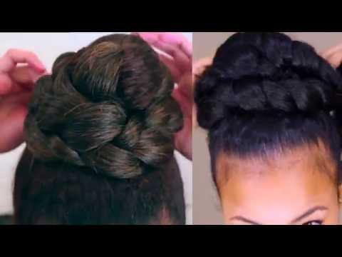 Natural Hair:Braided High Bun Tutorial Collab