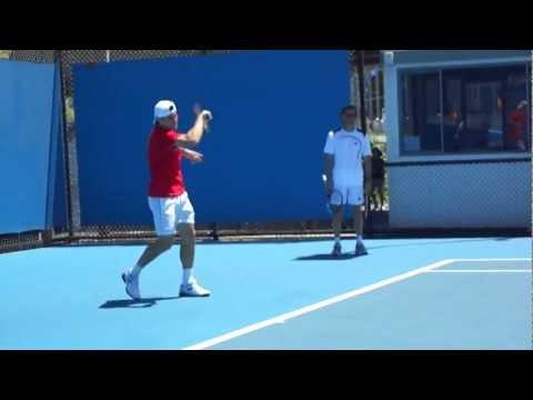 David Ferrer Practice - Australian Open 2012
