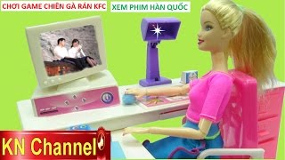 Đồ chơi trẻ em MÁY VI TÍNH BÚP BÊ BARBIE Trò chơi nấu ăn gà rán  Kids toy