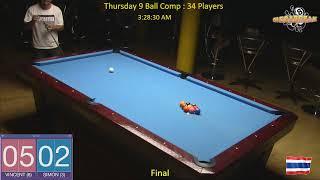 Thursday 9 Ball Handicap Competition - Megabreak Pool Pattaya : 09/05/19
