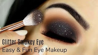 Beginners Glittery Smokey Eye Makeup Tutorial | How To Apply Eyeshadow | TheMakeupChair