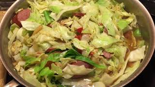 Cabbage With a Turkey Sausage | Simple - Delicious- Comfort Food