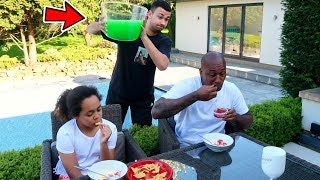 SLIME PRANK ON MY DAD & SISTER!!