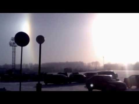 Тройное солнце (гало) в Челябинске 19.11.2015