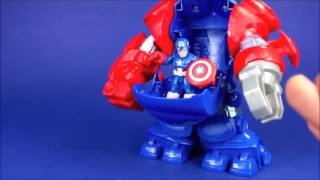 Captain America Space Command Armor vs Thanos & Spider Man vs Doc Ock's Octo Mech Playskool Heroes