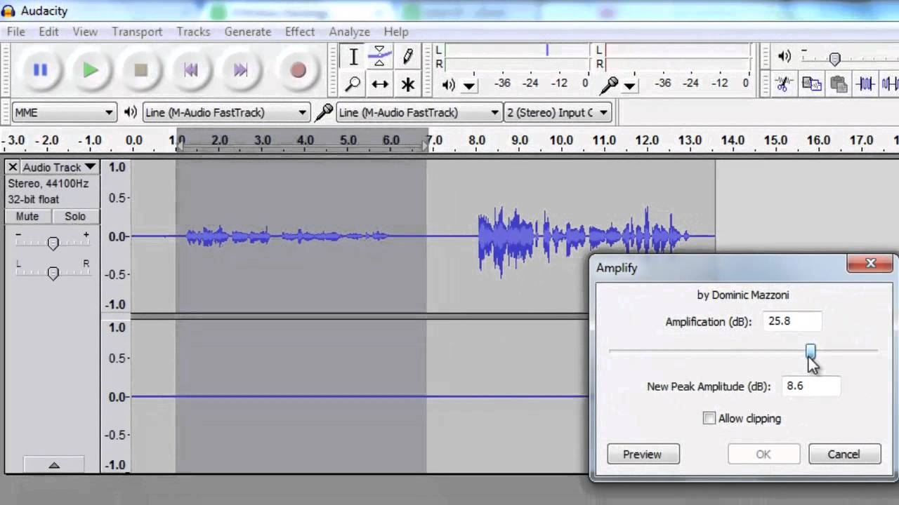 audacity for mac how to make audio quieter