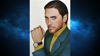 Colored pencil portrait of Jared Leto Time-lapse video Портрет Джареда Лето цветными карандашами