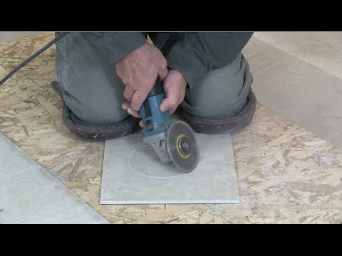 Cutting ceramic floor tiles with angle grinder
