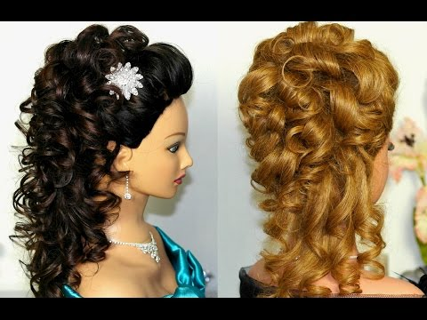 Bridal, prom hairstyle for long hair. Curly hairstyles. Свадебная прическа, прическа на выпускной.