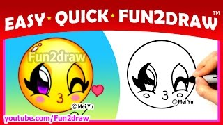 How to Draw Step by Step - super CUTE Emoji Face - Easy Quick Fun2draw - drawings for beginners kids