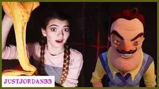 Hello Neighbor Hid My Slime Ingredients - Trapped In Box Fort Maze! / JustJordan33