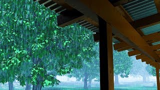 Rain Sounds on Tin Roof | Sleep, Study, Focus with Rainstorm White Noise | 10 Hours