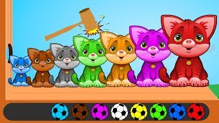 Learn Colors with Animals Cute Cat Wooden Face Hammer Finger Family Rhymes for Kids