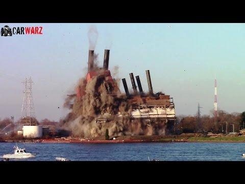 Marysville Michigan Power Plant Implosion Nov 2015 - HD Regular And Slow Motion