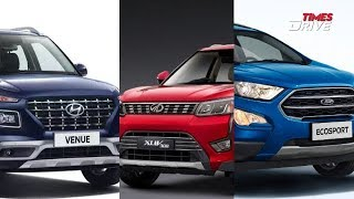Hyundai Venue vs Ford EcoSport vs Mahindra XUV300 | Specifications comparison | Times Drive