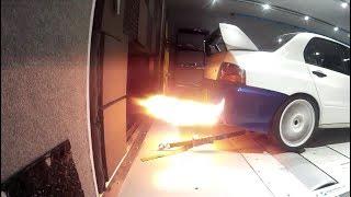 Mitsubishi Evo 7 - Brutal Anti lag with flames! Link PlugIn ECU
