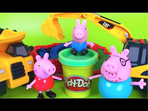 PlayDoh Stop Motion Peppa Pig's Family Gets a Swimming Pool Mighty Machines Excavator Dump Truck