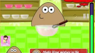 Watch and Play Pou Cooking Apple Pie Challenge game to playthrough online 2015 New