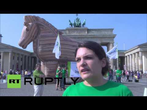 Germany: Huge Trojan horse protests EU-US trade deal