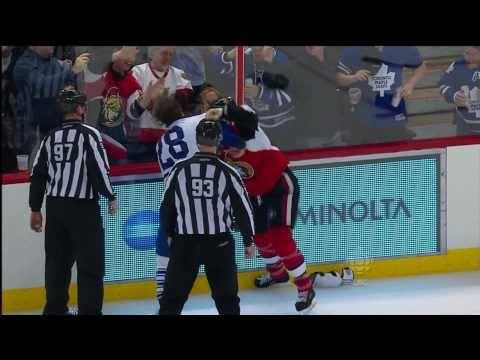 Orr!!!!! Bang Bang Bang!!!! In the Face. Sissy Neil takes a POUNDING!!! Should have ran away like he did in the 1st. Toronto Maple Leafs @ Ottawa Senators NHL 2010-11 Reg-Season...