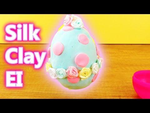 DIY OSTERDEKO   Silk Clay EI mit ROSEN   Super Süße Dekoration für den Frühling   DIY Kids Club