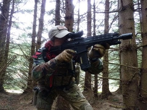 Echo1 Robinson Arms XCR in action at Section 8 Airsoft Scotland
