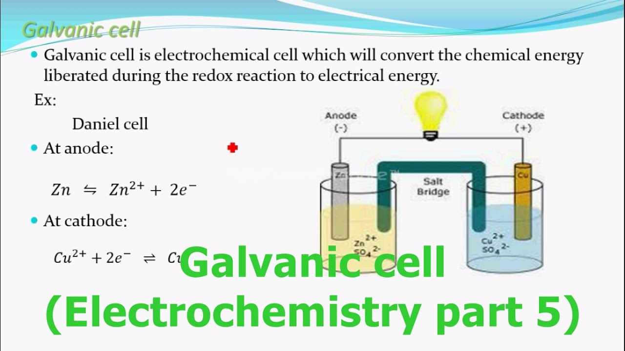 chemistry galvanic cell A galvanic cell can be created by using zinc and copper the anode is a zinc bar placed into a zinc sulphate solution and the cathode is a copper bar placed find this pin.