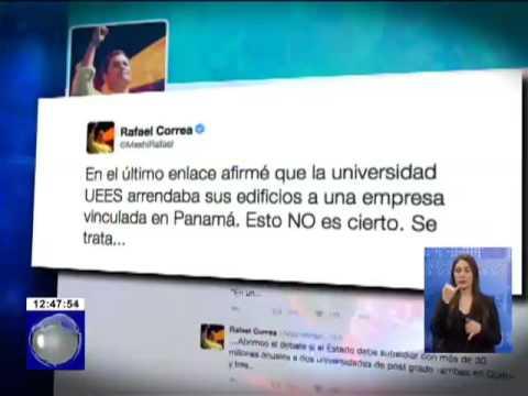 Presidente Correa pidió disculpas a la UEES en su cuenta Twitter