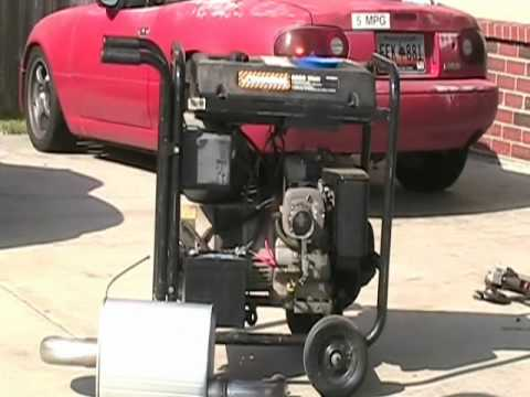 Using a car muffler to quiet down a noisy generator