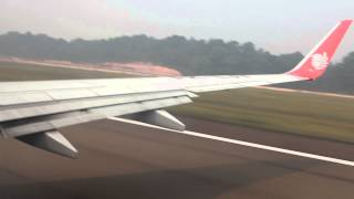 Lion Air takeoff from Hang Nadim Airport in Batam