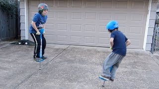 Rowan and Ivan jump on the ipogo jr. pogo sticks!