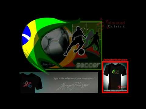 Sport: Soccer: Brazil / Animated T-shirt / animation with EL lighting technology by Jorge Pong®