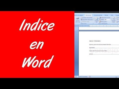 Word 2007 2010 Como hacer un indice en word