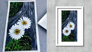 Easy Acrylic Painting Demonstration - How to Paint Daisy - STEP by STEP Painting For Beginners