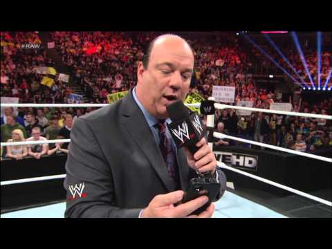 Triple H accepts Brock Lesnar's Steel Cage Match challenge then Pedigrees Paul Heyman: Raw, April 22