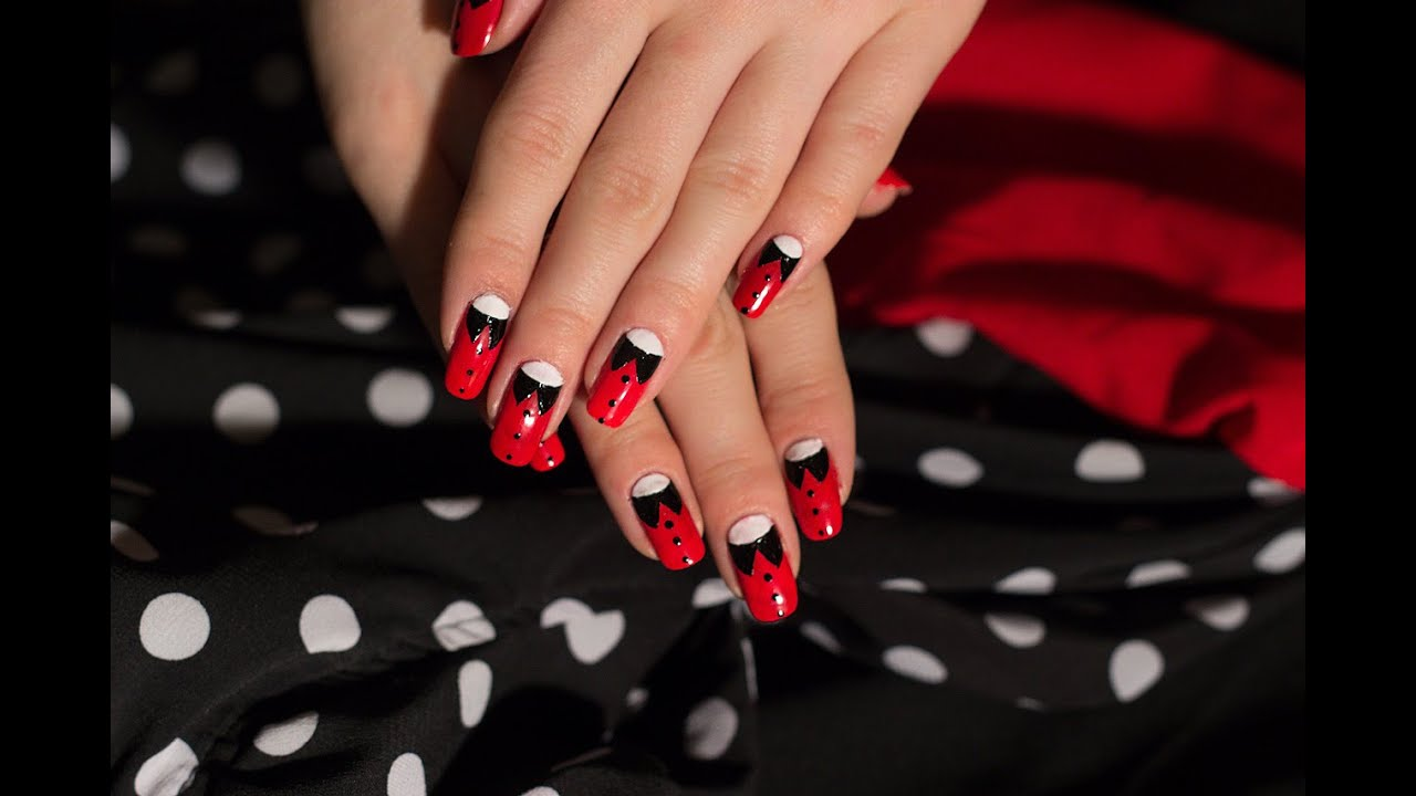 Дизайн ногтей с черным и красным гель лаком фото новинки