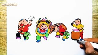 Vẽ Tranh Múa Lân Trung Thu  - Chủ đề Trung thu  - Dạy bé vẽ và tô màu - draw Mid-Autumn Festival